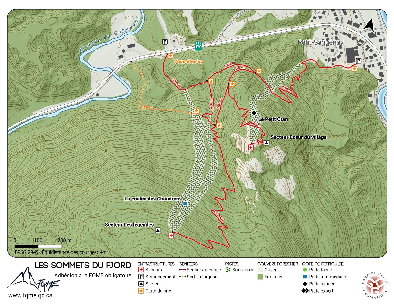 Plan de piste des sommets du fjord